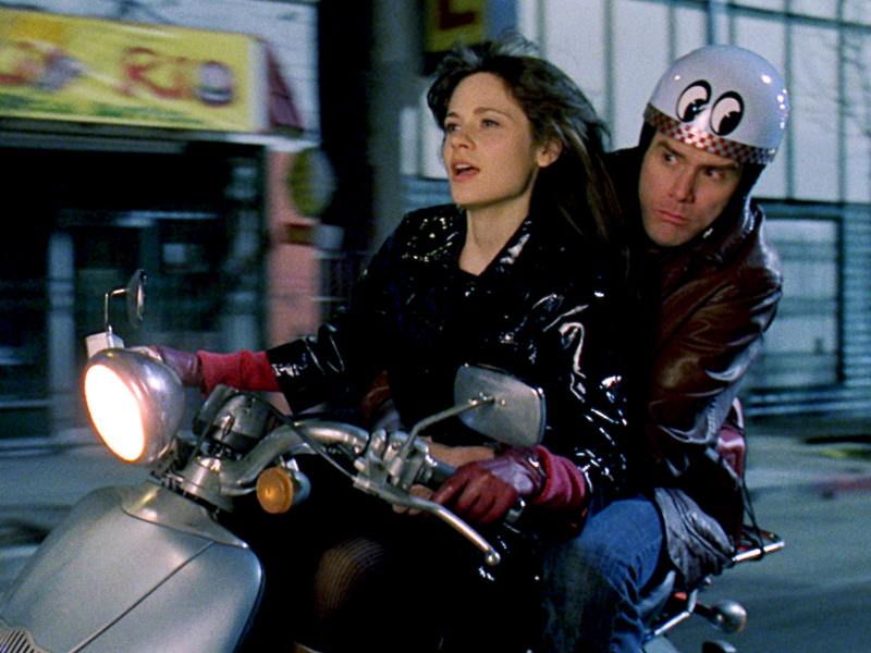 "(L-r) Allison (ZOOEY DESCHANEL) and Carl (JIM CARREY) take a ride on Allison's scooter in Warner Bros. Pictures' and Village Roadshow's comedy ""Yes Man,"" distributed by Warner Bros. Pictures. PHOTOGRAPHS TO BE USED SOLELY FOR ADVERTISING, PROMOTION, PUBLICITY OR REVIEWS OF THIS SPECIFIC MOTION PICTURE AND TO REMAIN THE PROPERTY OF THE STUDIO. NOT FOR SALE OR REDISTRIBUTION"